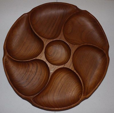 Vintage-Monkey-Pod-Wood-7-Section-Chip-Veggie-Dip-Candy-Serving-Tray