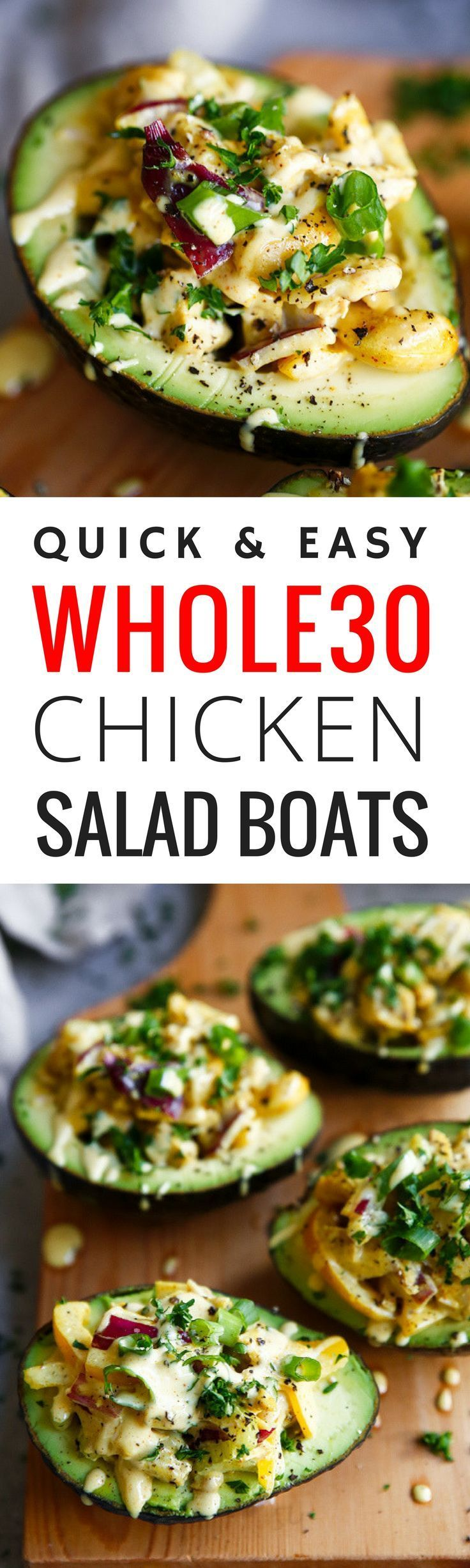 5 minute Whole30 lunch on the go! Easy whole30 chicken salad boats- filled with veggies, topped with fresh herbs and SO healthy and easy to make! Whole30 meal ideas. whole30 meal plan. Easy whole30 dinner recipes. Whole30 snacks. Whole30 recipes. Whole30