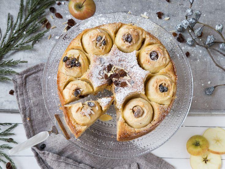 Weihnachtlicher Kaffeeklatsch: Bratapfelkuchen mit Marzipan