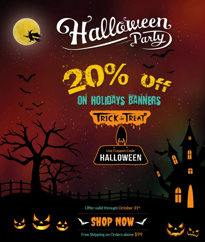 Scary Deals on #Halloween for Holidays Banners 20% OFF on Halloween Party Banners Coupon Code:HALLOWEEN Exp:October 31st 2015 http://www.bannerbuzz.ca/holiday-banners.html