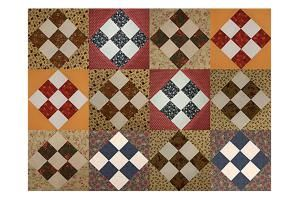 You'll love this easy Country Nine-Patch quilt block pattern, with scrap quilt blocks that are surrounded by triangles to make them appear to be on-point.: Make a Scrappy Country Nine Patch Quilt