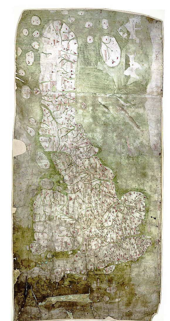 Gough Map first known full map of Britain 1350 AD.