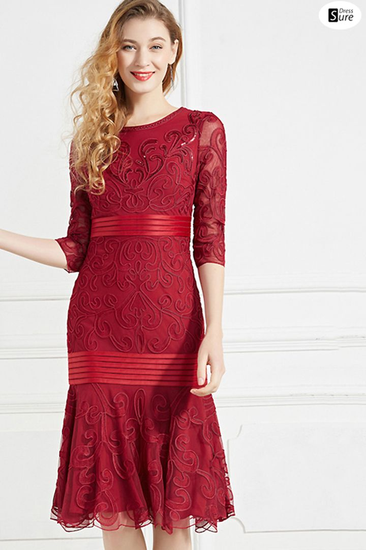 770080b4 Elegant Embroidery Mesh Bodycon O-Neck Half Sleeve Fish Tail Midi Dress US$  106.99