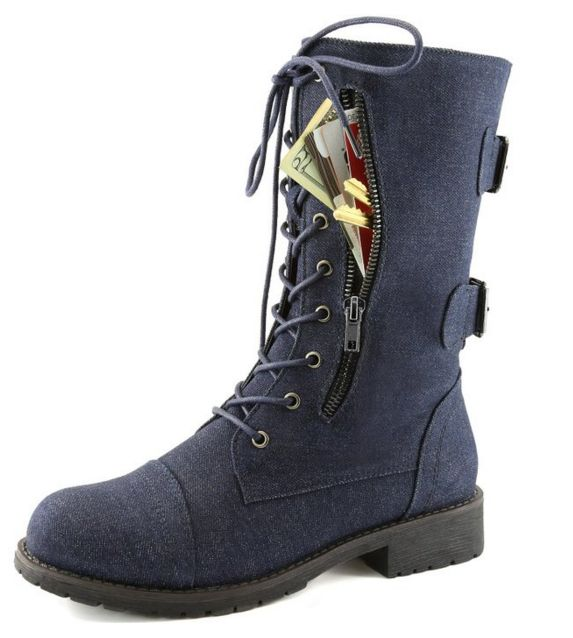 Gift idea: Women's Military Combat Lace up Mid Calf High Credit Card Knife Money Wallet Pocket Boots