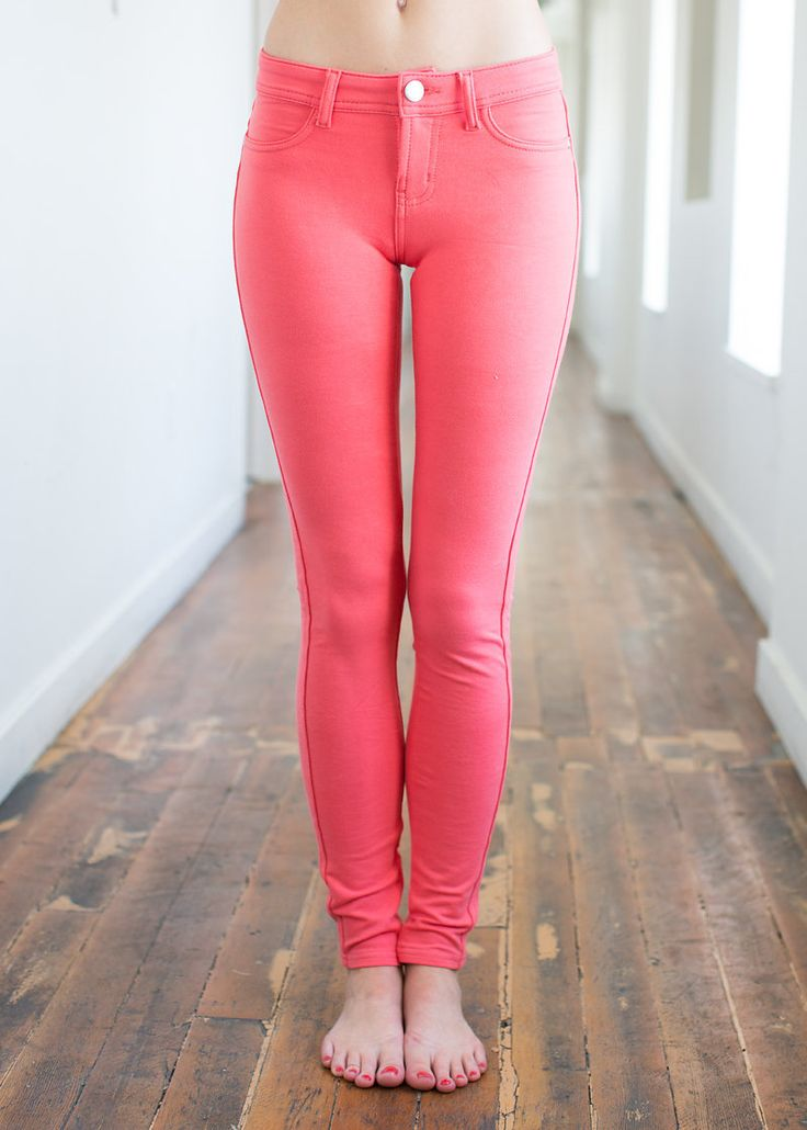 Most Favored Coral Fitted Jeggings - Modern Vintage Boutique