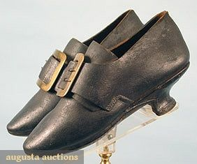 """WOMAN'S EVERYDAY SHOES, c. 1770  Black leather, leather covered Italian heels, brass shoe buckles, shoes from """"Lederman Collection"""" purchased early 20th C & exhibited in Europe & USA, excellent  Lot: 519  13.2170.1090.519"""
