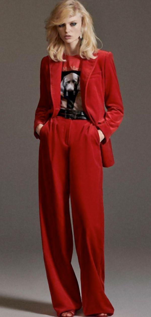 Red Wide Leg Pant Suit