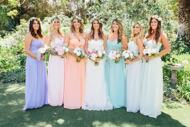 I adore these pretty pastel bridesmaids dresses by Donna Morgan!