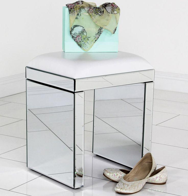 Venetian Mirrored Stool with White Seat Pad