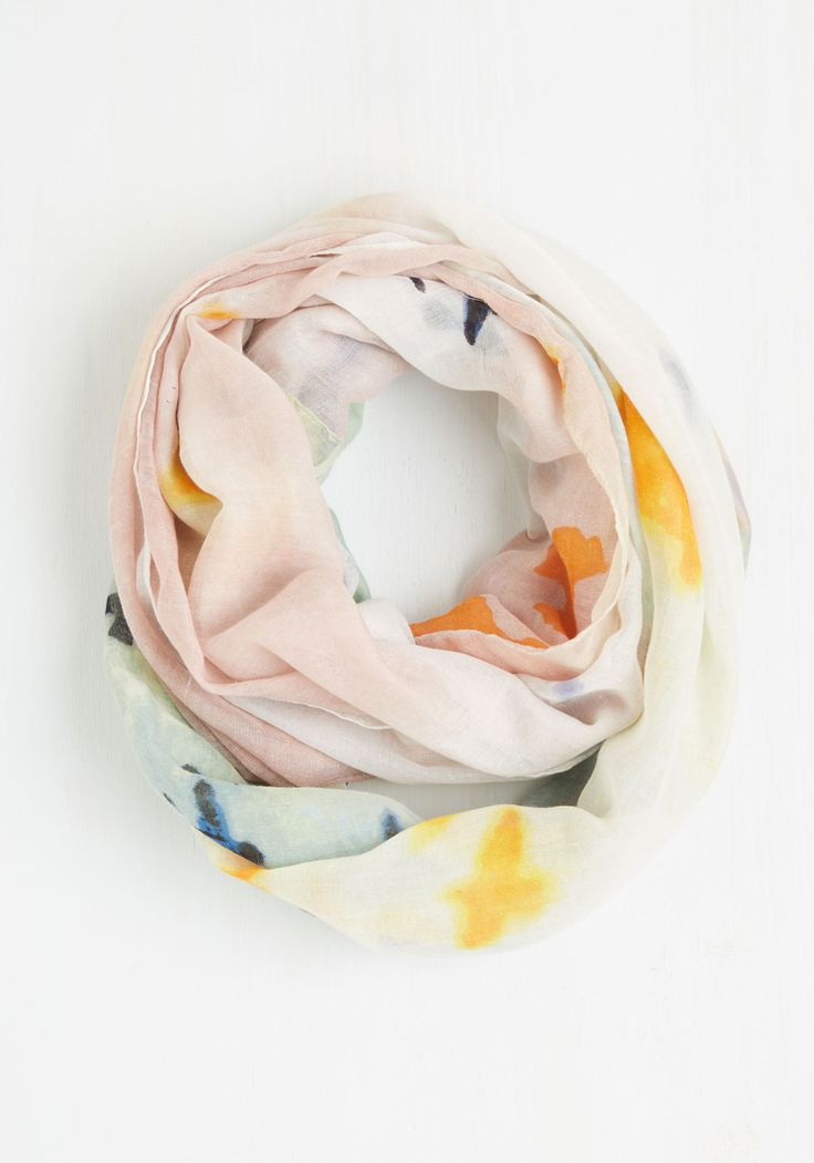 Paint Life Grand? Circle Scarf. Kissed by the sun, tickled by grass, and draped in this soft circle scarf, you sure are livin the 'breezy' life. #multi #modcloth