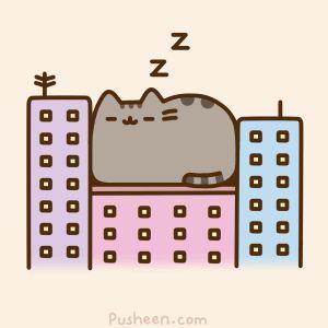 Pusheen Giant Cat Sleeping on Buildings
