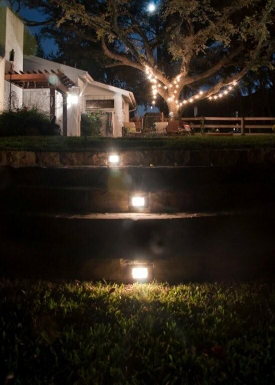 Great idea to light the way! LED step lights. By Outdoor Signature in Argyle, TX.
