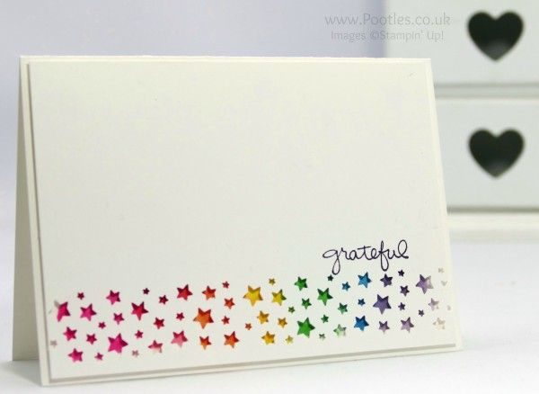 Confetti Stars border punch, Endless Thanks, Aqua Painter, Watercolor Paper, Brights Stamp Pads - Rainbow Punched Card