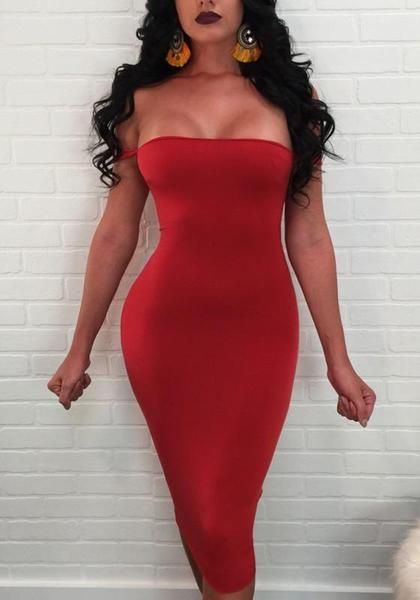 28a34cbd36a Red Cross Cut Out Bandeau Backless Lace-up Bodycon Club Midi Dress ...