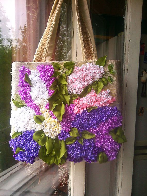 FREE SHIPPING. BAG Embroidered lilac. Embroidered by Vogue2014, $85.00