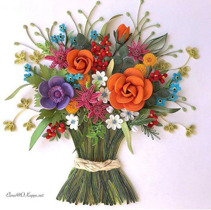 Как сделать открытку цветы в букете