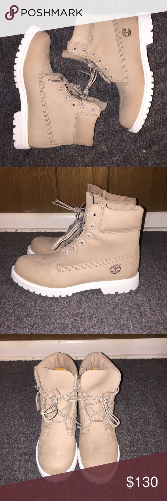 Tan Timberlands Timberland Boots  Brand New  Never Worn  Tan w/ White Bottom  Bundle 4 Better Pricing   Use Offer Button To Negotiate Timberland Shoes Lace Up Boots