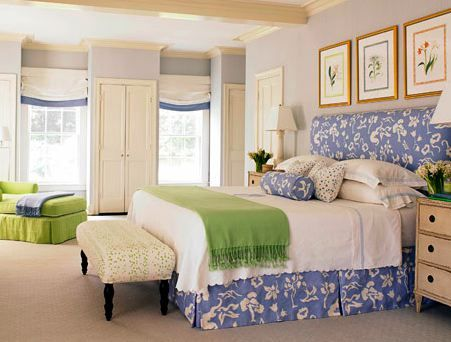 pretty bedskirts | love this headboard shape and pretty Zoffany fabric. It looks nice ...