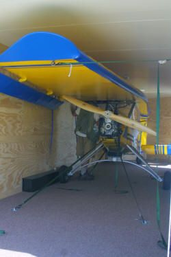 How about an airplane you can store and transport to the airport in a trailer.  Backyard Flyer HP, Backyard Flyer HP experimental lightsport aircraft, Light Sport Aircraft Pilot News newsmagazine.