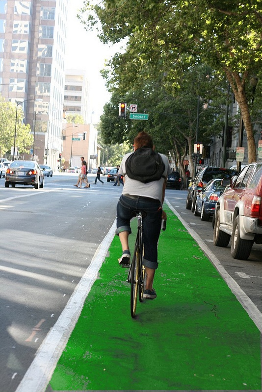 City of San Jose approves green bikeway plans for downtown.  Click through on image for details.: Green Bikes, Bikes Friends, Beautiful Places, Approved Green, Jose, Cities Plans, Friends Places, Fun Places, Bikeway Plans