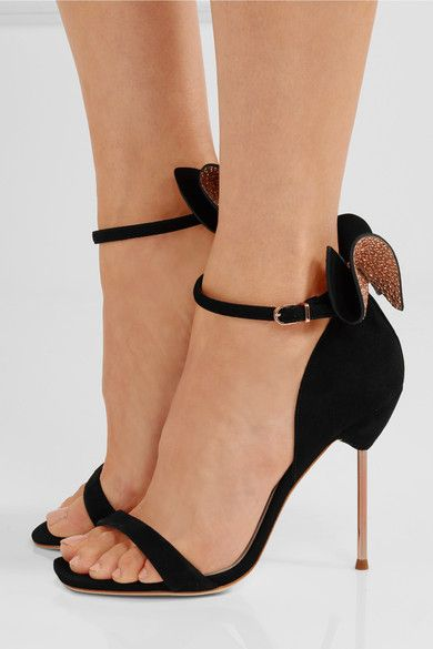 Heel measures approximately 100mm/ 4 inches Black suede Buckle-fastening ankle strap