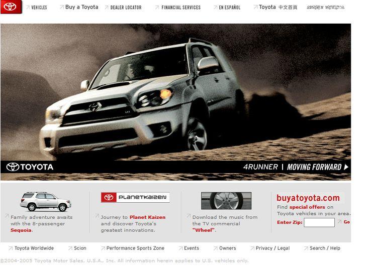 Toyota website in 2004