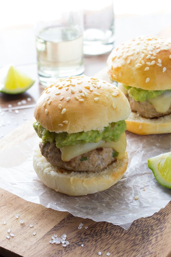 Tiny turkey burgers are flavored with tequila and lime, topped with monterey jack cheese and fresh guacamole. Leave the tequila out for kids! Perfect for a BBQ, cinco de mayo, or dinner! Ready in 30 minutes!