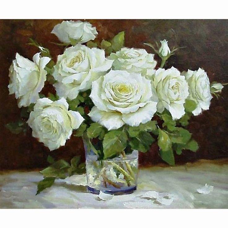 White rose vase 5D square diamond painting DIY needlework kit Diamond mosaic Rhinestone crafts crystal embroidery #Affiliate