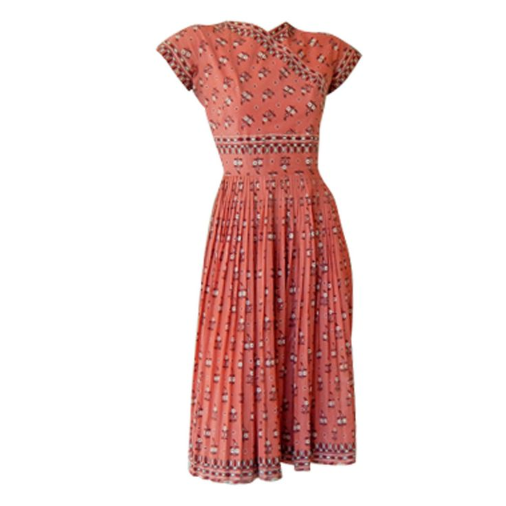"""A Rare Carolyn Schnurer """"Serrano"""" First Collection ethnic print dress 