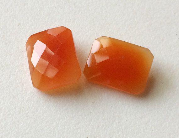 2 Pcs Orange Chalcedony Emerald Cut Stones Orange by gemsforjewels