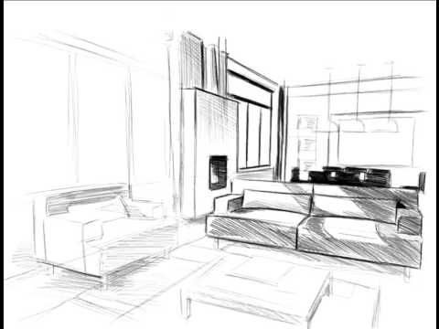 comment dessiner un salon croquis am nagement int rieur pinterest perspective comment. Black Bedroom Furniture Sets. Home Design Ideas