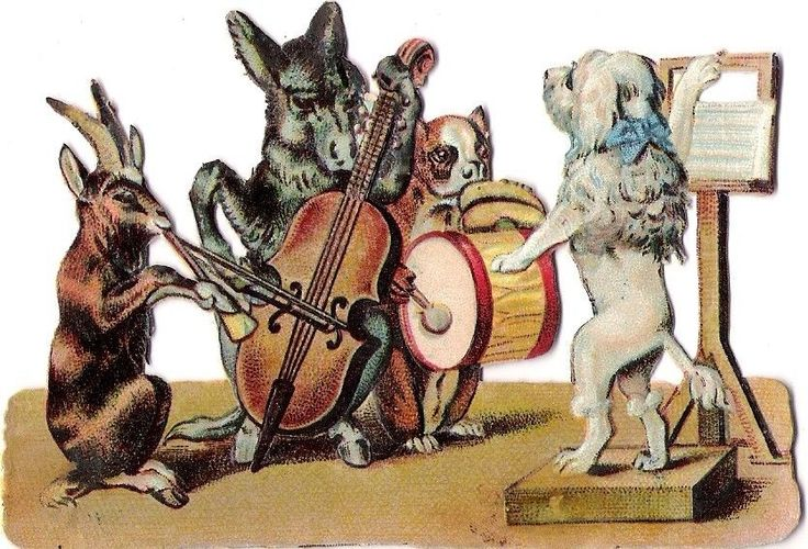 Oblaten Glanzbild scrap die cut chromo Tier Musik music Esel Pudel poodle donkey
