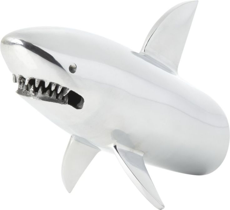 silver shark bookend