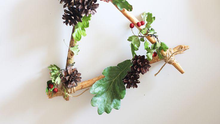 Autumn home decor, fall wreath, leaves, cone, diy, easy, cute, idea