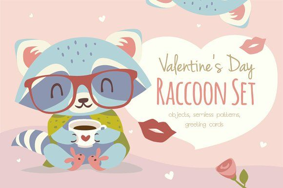 St. Valentines Day raccoons set by SunnyWS on @creativemarket