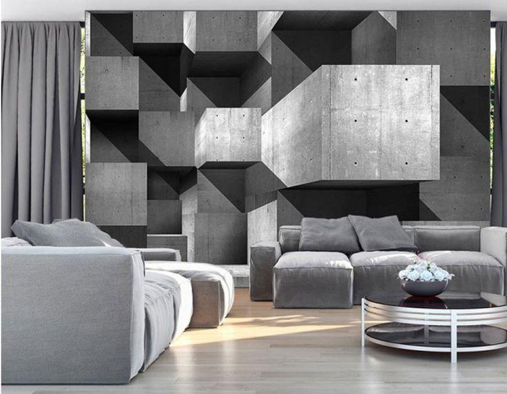 papier peint 3D gris design panoramique