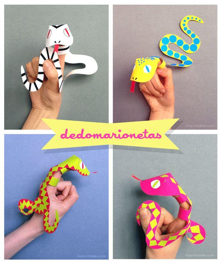 Celebraciones Caseras: culebras dedo-marionetas