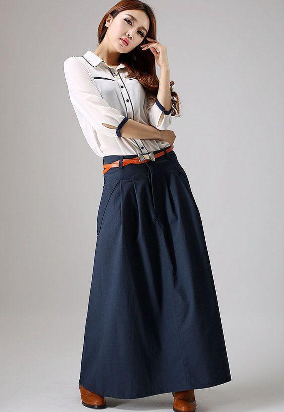 Falda azul marina maxi falda con bolsillos falda falda de