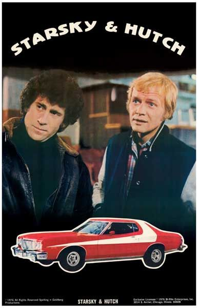 """A great Starsky and Hutch poster! When cop shows were all about tough talk and car chases! Gotta love the """"Striped Tomato"""", Starsky's Ford Gran Torino. Ships fast. 11x17 inches. Need Poster Mounts..?"""