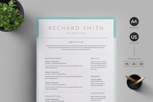 Interests On Resume Resumecvreuix Studio On Creativemarket  Resumecv  Pinterest .