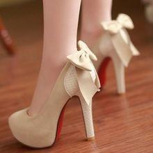 2014 Nueva gran tamaño 34-42 Tacones altos zapatos de la princesa boda del arco atractivo bombas de la plataforma del dedo del pie Calzado Moda Mujeres Ronda ENMAYER(China (Mainland))