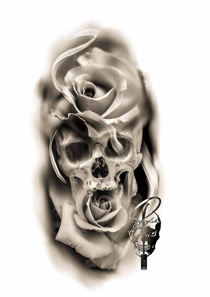 Hand Drawings Roses And Skulls: Tatuagem De Manga, Desenho Para