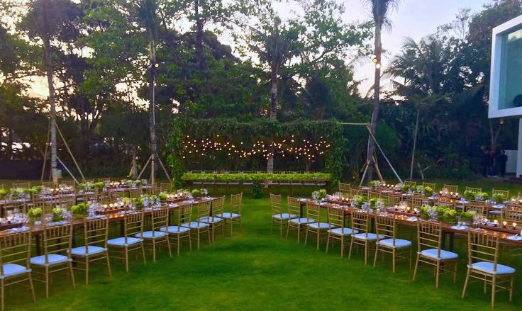 Romantic Industrial setting with Hydrangea runner and falling greenery with bulbs for this Villa Ombak Biru #wedding #reception #tablesetting #Bali