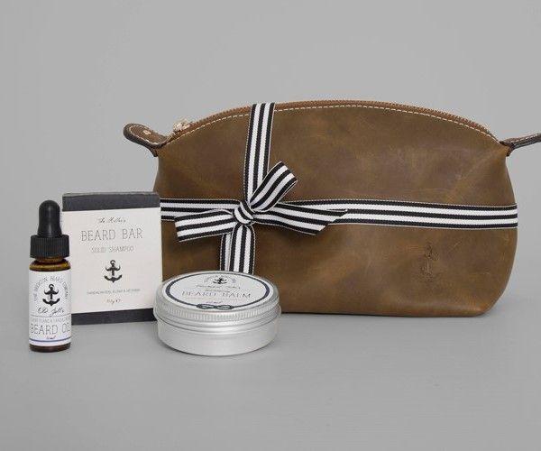 Brighton Beard Co Conditioning Gift Set - leather wash bag, beard shampoo bar, beard balm and beard oil! #beards #men