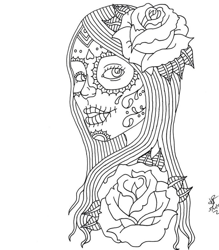 day of the dead coloring pages day of the dead girl by itsanocean - Mega Man Printable Coloring Pages