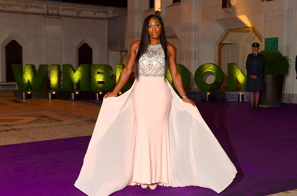 Serena Williams won her 6th Wimbledon title on Saturday. She attended the Champions' dinner in a gorgeous cream gown on Sunday night.