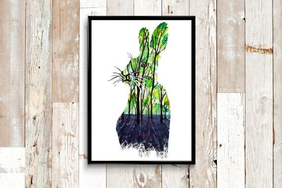 Vibrant green forest, carpetted with lush lavender, in the silhouette of a bunny rabbit. Painted with watercolor. Ideal for a woodland themed nursery, nursery wall art or just simple home wall art :)   Selling prints of this on Etsy and instant downloadable versions of this soon.