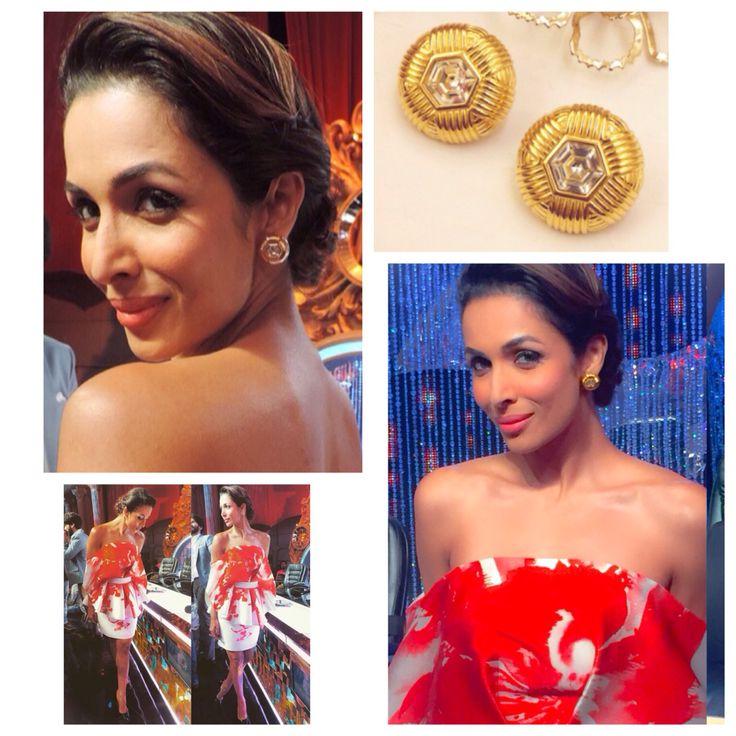 Malaika Arora Khan glitters in our vintage Swarovski pierced diamond studs for Jhalak Dikhlaja! We love