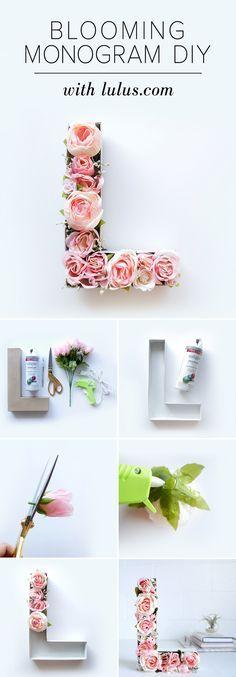 Blühendes Monogramm zur Rosenhochzeit, ganz einfach selbst gemacht. #Rosenhochzeit #Dekoration #Blumen