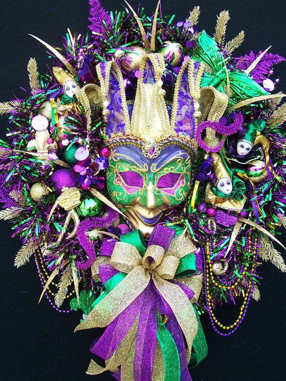 Mardi Gras Wreath       LE Mardi Gras  Fat Tuesday     Mask  Beads